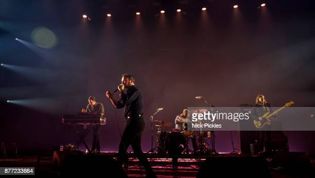 Gerrit Welmers Samuel T Herring Michael Lowry and William Cashion of Future Islands perform at O2 Academy Brixton on November 21 2017 in London...