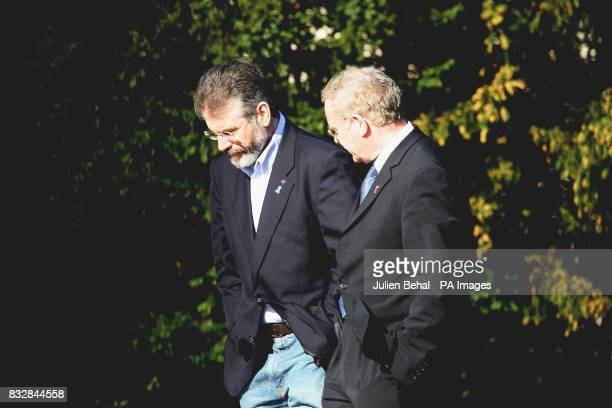 Gerry Adams and Martin McGuinness leaving a meeting at Hillsborough Castle where Sinn Fein and the DUP met the Northern Ireland Secretary Peter Hain...