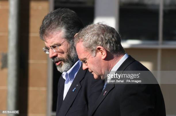 Gerry Adams and Martin McGuinness leaving a meeting at Hillsborough Castle at which Sinn Fein and the DUP met the Northern Ireland Secretary Peter...