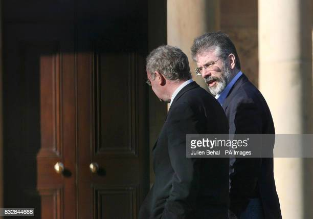 Gerry Adams and Martin McGuinness leaving a meeting at Hillsborough Castle where Sinn Fein and the DUP met the Northern Ireland Secretary Peter Hain