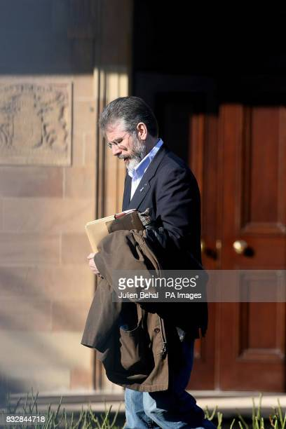 Gerry Adams leaving a meeting at Hillsborough Castle where Sinn Fein and the DUP met the Northern Ireland Secretary Peter Hain today