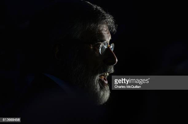 Gerry Adams speaks to the media as he arrives at the Irish General Election constituency count on February 27 2016 in Dundalk Ireland Two million...