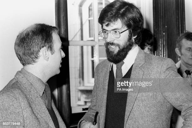 Gerry Adams the hardline Republican candidate for West Belfast talking to fellow Sinn Fein candidate Joe Austin at the City Hall in Belfast as they...