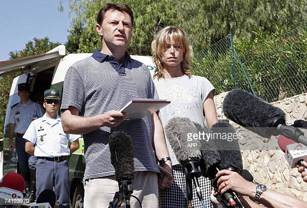 Gerry and Kate McCann the parents of the missing threeyearold girl Madeleine McCann read a statement to the press outside their resort apartment 11...