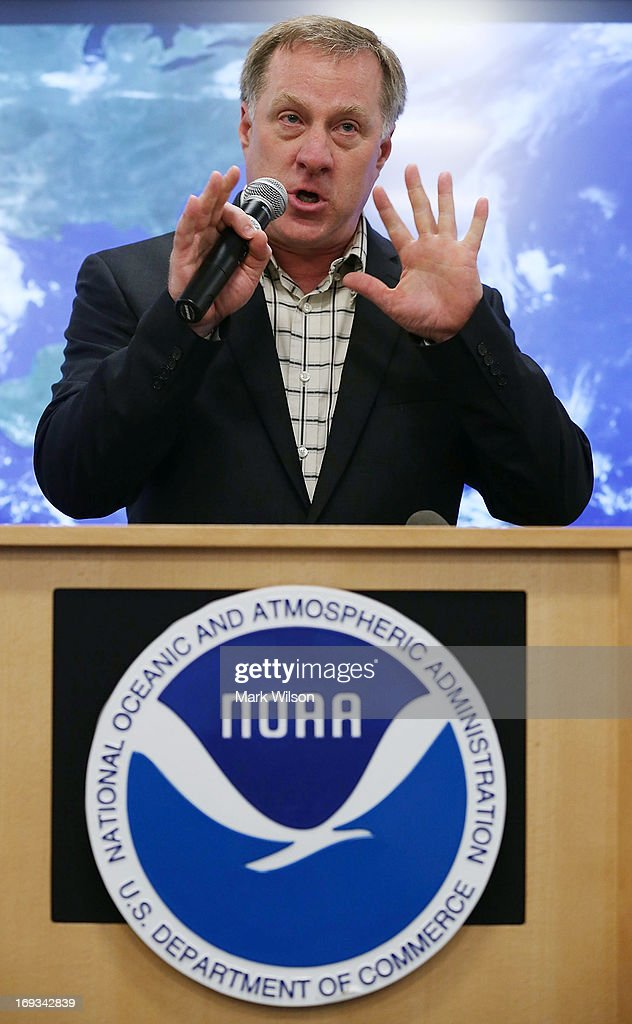 Gerry Bell, lead hurricane season forecaster at Oceanic and Atmospheric Administration (NOAA) talks about the 2013 Atlantic hurricane season outlook, during a news conference at NOAA headequarters May 23, 2013 in College Park, Maryland. NOAA Atlantic Hurricane Season Outlook predicts there is a 70 percent likelihood of 13 to 20 named storms of which 7 to 11 could become hurricanes including 3 to 6 major hurricanes.
