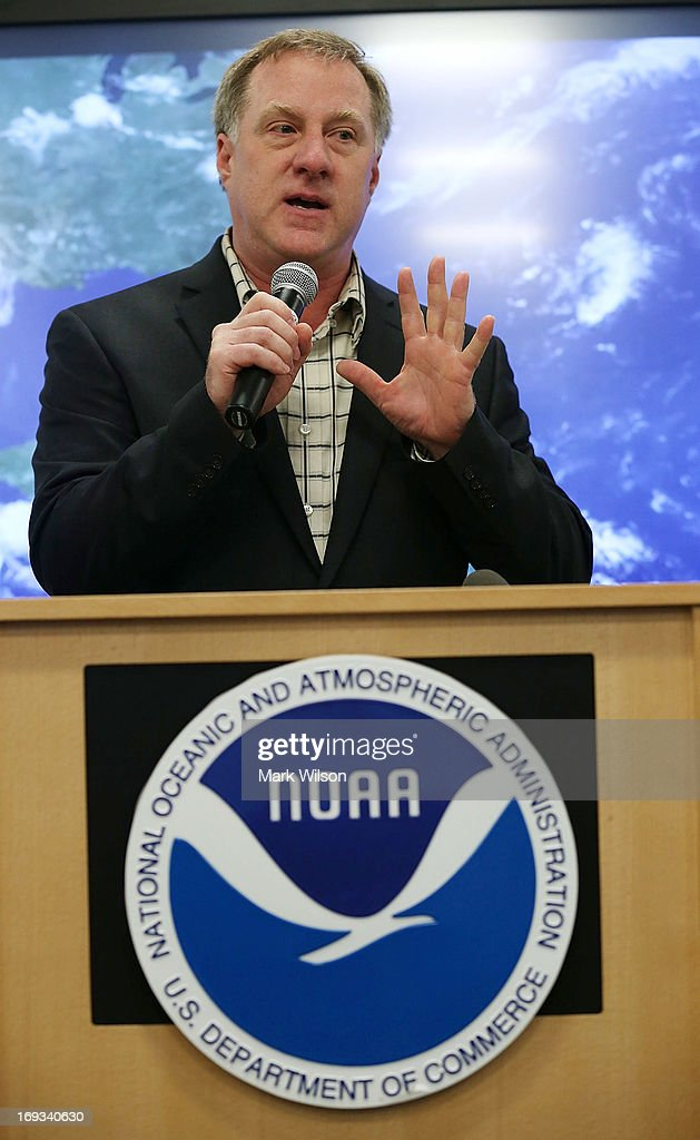 Gerry Bell, lead hurricane season forecaster at the National Oceanic and Atmospheric Administration (NOAA), talks about the 2013 Atlantic hurricane season outlook during a news conference at NOAA headequarters May 23, 2013 in College Park, Maryland. NOAA Atlantic Hurricane Season Outlook predicts there is a 70 percent likelihood of 13 to 20 named storms of which 7 to 11 could become hurricanes including 3 to 6 major hurricanes.