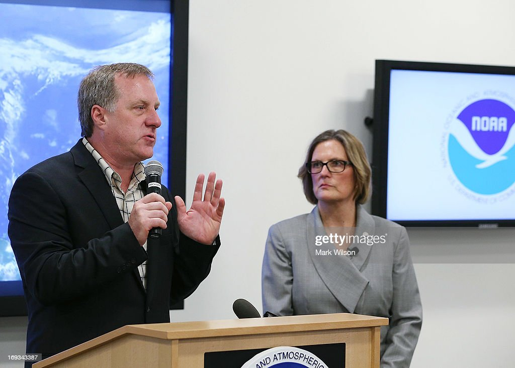 Gerry Bell (L), lead hurricane season forecaster at the National Oceanic and Atmospheric Administration (NOAA) Climate Prediction Center, and Kathryn Sullivan Director NOAA give the 2013 Atlantic hurricane season outlook during a news conference at NOAA headequarters May 23, 2013 in College Park, Maryland. NOAA Atlantic Hurricane Season Outlook predicts there is a 70 percent likelihood of 13 to 20 named storms of which 7 to 11 could become hurricanes including 3 to 6 major hurricanes.