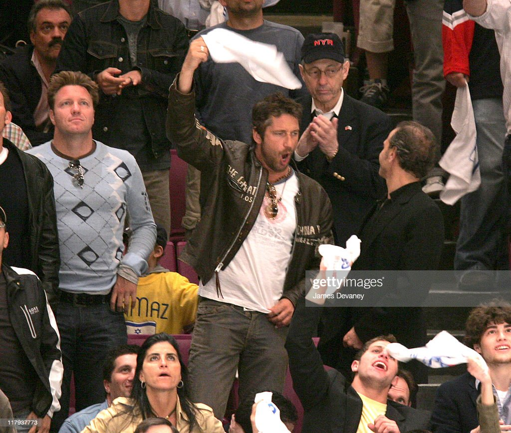 Gerry Butler during Celebrities Attend Buffalo Sabres vs New York Rangers Playoff Game May 6 2007 at Madison Square Garden in New York City New York...
