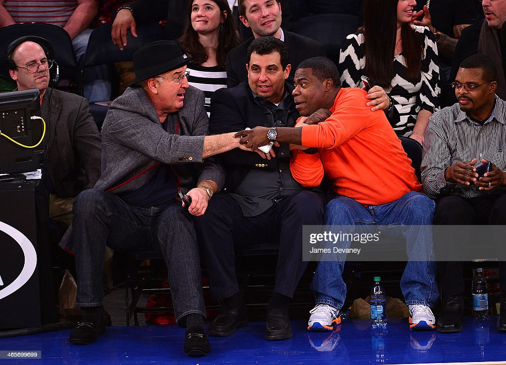 Gerry Cooney, guest, <a gi-track='captionPersonalityLinkClicked' href=/galleries/search?phrase=Tracy+Morgan&family=editorial&specificpeople=182428 ng-click='$event.stopPropagation()'>Tracy Morgan</a> and guest attend the Boston Celtics vs New York Knicks game at Madison Square Garden on January 28, 2014 in New York City.