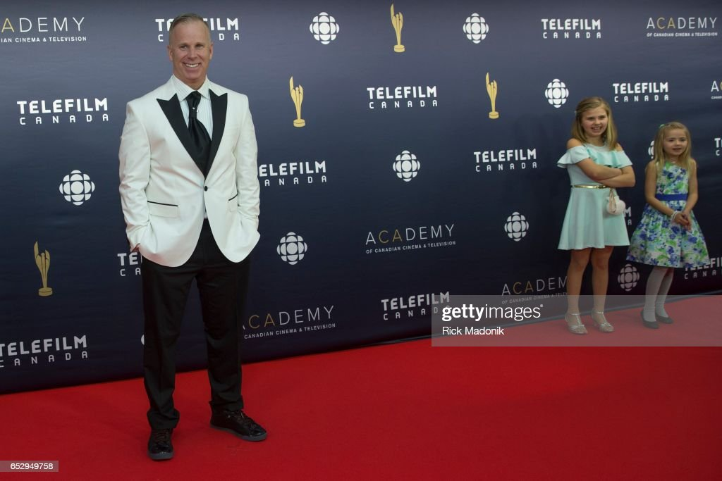 Gerry Dee, as his kids Faith and Aly Donoghue wait for dad. Canadian Screen Awards red carpet at Sony Centre for the Performing Arts ahead of the show.