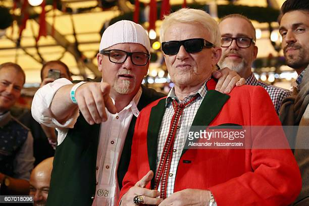 Gerry Friedle aka DJ Oetzi and Heino attend opening of the 2016 Oktoberfest beer festival at Theresienwiese on September 17 2016 in Munich Germany...