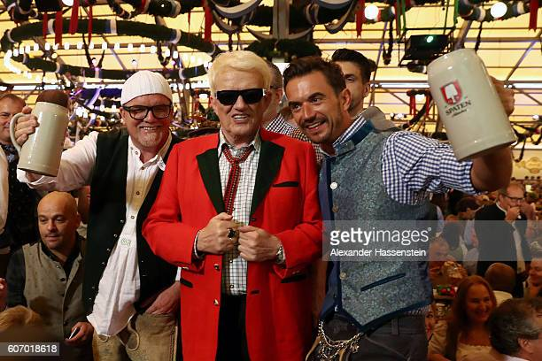 Gerry Friedle aka DJ Oetzi Heino and Florian Silbereisen attend the opening of the 2016 Oktoberfest beer festival at Theresienwiese on September 17...