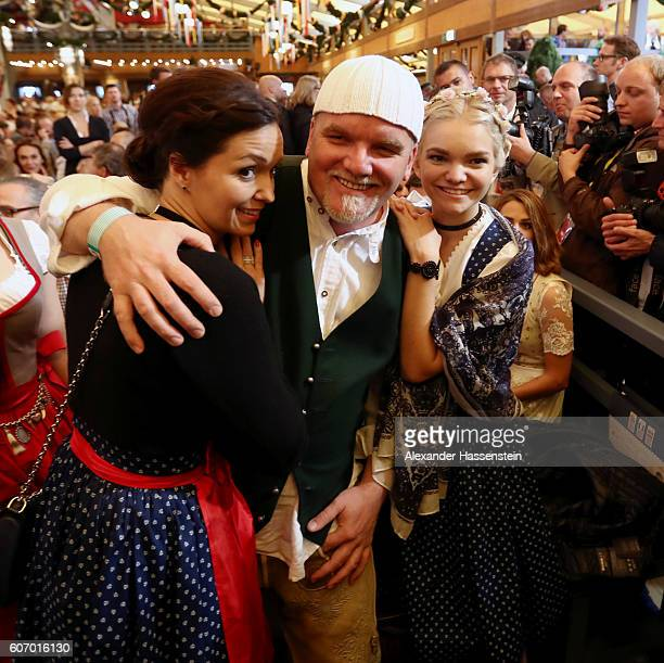 Gerry Friedle aka DJ Oetzi his wife Sonja Friedle and his daughter LisaMarie Friedle attend the 2016 Oktoberfest beer festival opening at...