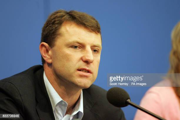 Gerry McCann at a press conference in Berlin on the first leg of their 2 stop tour which also takes in Amsterdam