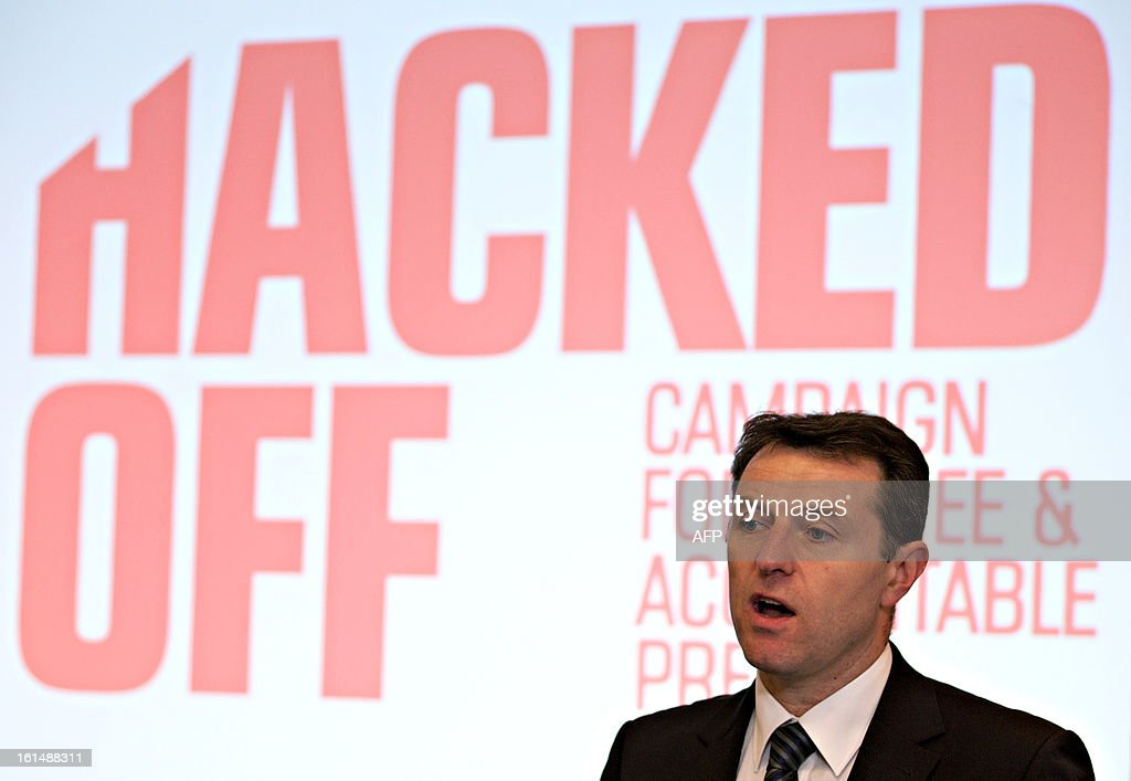 Gerry McCann, father of missing girl Madeleine McCann and a victim of phone hacking, speaks during a conference organised by the Hacked Off campaign, on the eve of the publication of the long-awaited Conservative proposal for a 'Royal Charter' for press regulation in Central London, on February 11, 2013. AFP PHOTO/ANDREW COWIE