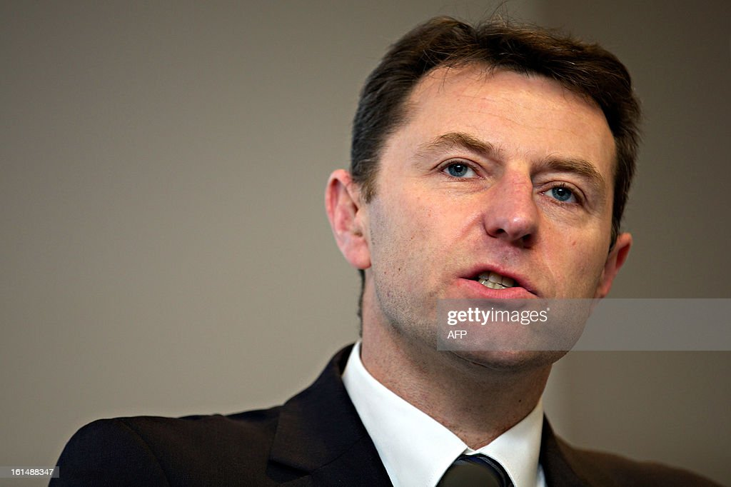 Gerry McCann, father of missing girl Madeleine McCann and a victim of phone hacking, speaks during a conference organised by the Hacked Off campaign, on the eve of the publication of the long-awaited Conservative proposal for a 'Royal Charter' for press regulation in Central London, on February 11, 2013.