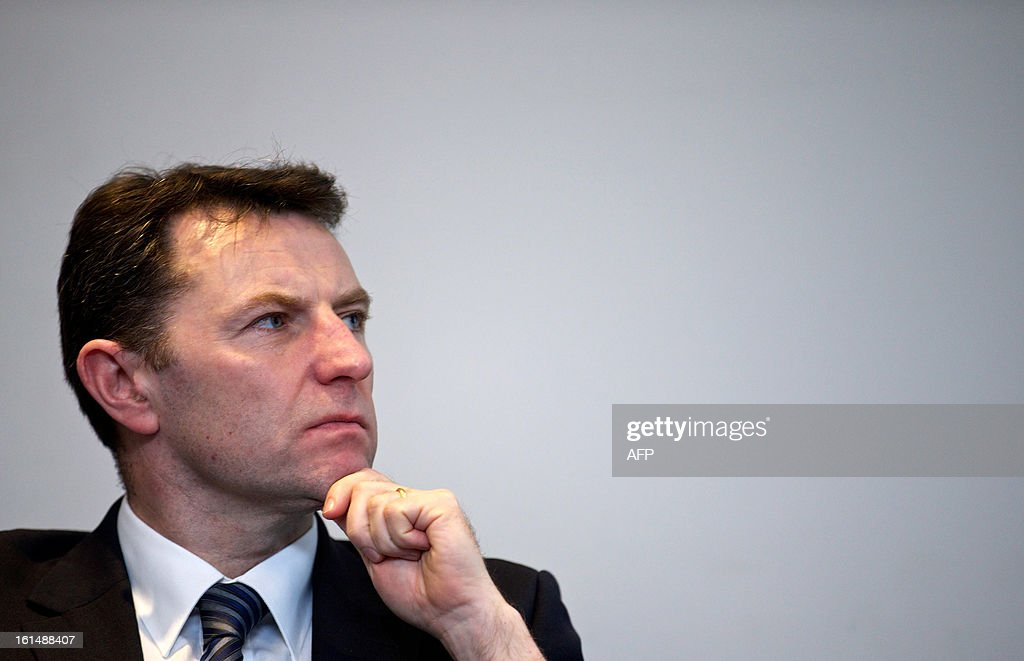 Gerry McCann, father of missing girl Madeleine McCann and a victim of phone hacking, attends a conference organised by the Hacked Off campaign, on the eve of the publication of the long-awaited Conservative proposal for a 'Royal Charter' for press regulation in Central London, on February 11, 2013. AFP PHOTO/ANDREW COWIE
