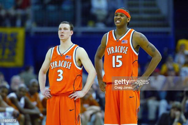 Gerry McNamara of the Syracuse University Orangeman stands next to his teammate Carmelo Anthony during the semifinal round of the NCAA Final Four...