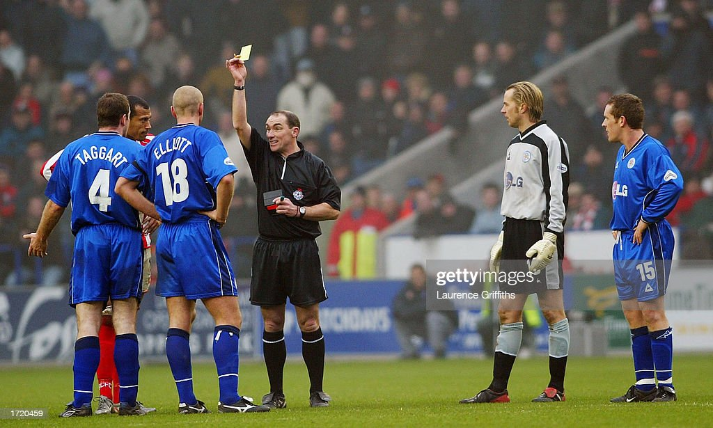 Gerry Taggart of Leicester City is sent off after he clashed heads with Chris Iwelumo of Stoke during the Nationwide First Division match between Leicester City and Stoke City on January 11, 2003 at the Walkers Stadium, Leicester, England.