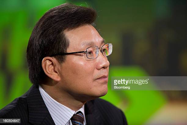 Gerry Wang chief executive officer of Seaspan Corp listens during an interview in Hong Kong China on Tuesday Jan 29 2013 Seaspan is likely to order...