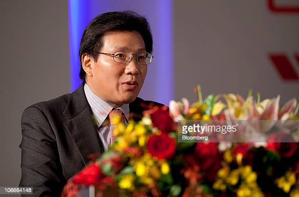 Gerry Wang chief executive officer of Seaspan Corp speaks at the World Shipping Summit in Guangzhou Guangdong province China on Wednesday Nov 10 2010...