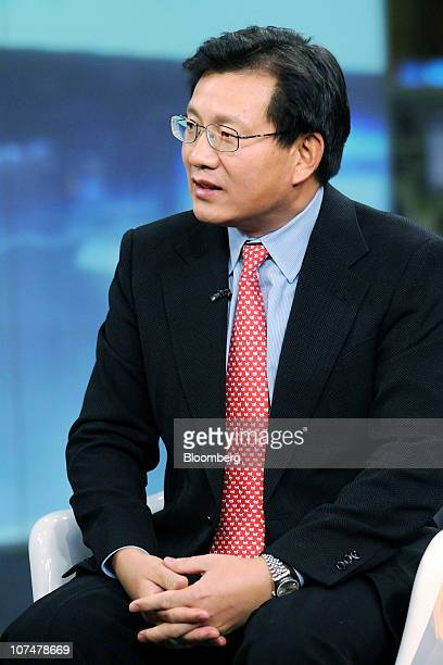 Gerry Wang chief executive officer of Seaspan Corp speaks during a television interview in New York US on Wednesday Dec 8 2010 Wang says that Seaspan...