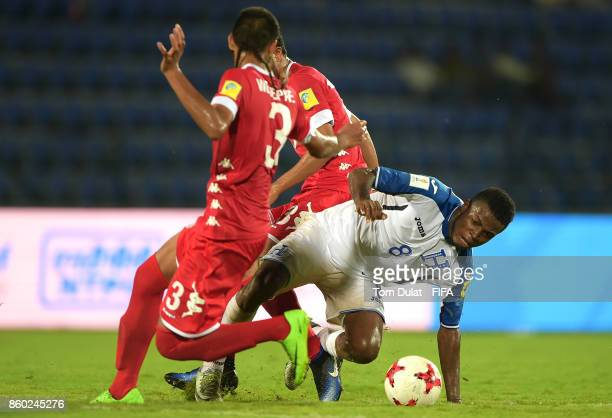Gerson Chavez of Honduras battles for the ball during the FIFA U17 World Cup India 2017 group E match between Honduras and New Caledonia at Indira...