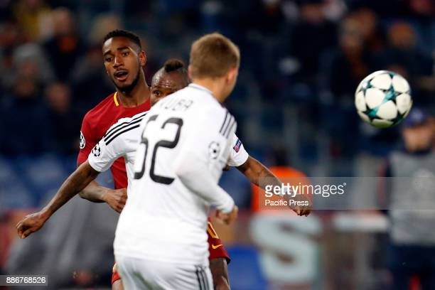 Gerson of Roma fights for the ball during the UEFA Champions League Group C soccer match against Qarabag in Rome Roma won the match 10