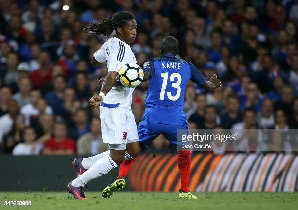 Gerson Rodrigues of Luxembourg N'Golo Kante of France during the FIFA 2018 World Cup Qualifier between France and Luxembourg at the Stadium on...