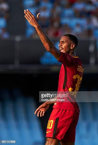 Gerson Santos Da Silva of AS Roma reacts during the preseason friendly match between Celta de Vigo and AS Roma at Balaidos Stadium on August 13 2017...