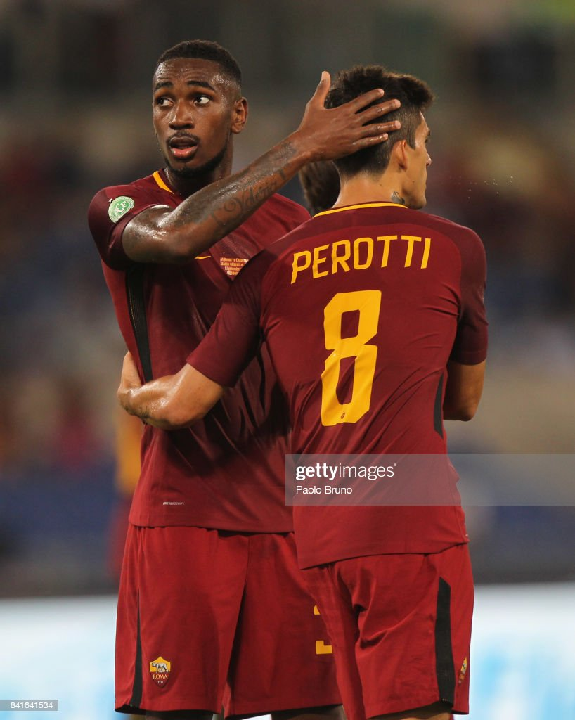 Gerson with his teammate Diego Perotti of AS Roma celebrate after scoring the team's second goal during the friendly match between AS Roma and Chapecoense at Olimpico Stadium on September 1, 2017 in Rome, Italy.