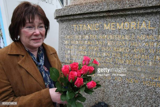 Gerterud Schmidt from the Titanic memorial society in Germany who laid flowers today at the memorial service of the hundreds who died in the infamous...