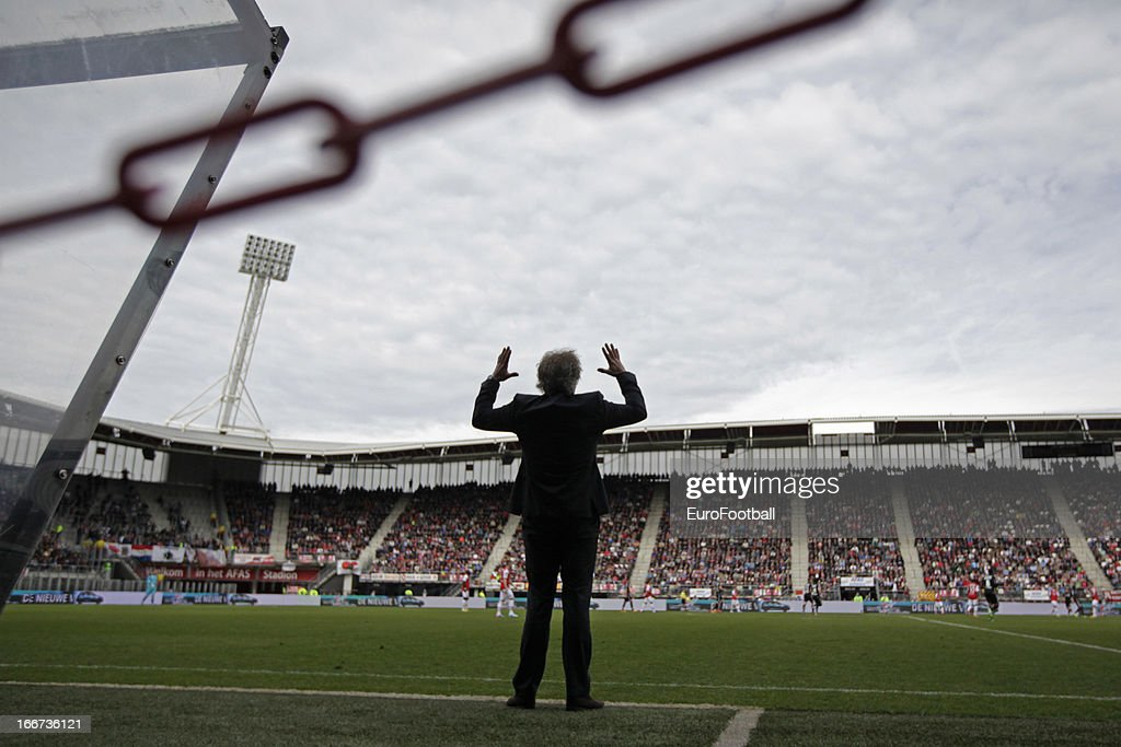 Gertjan Verbeek, coach of AZ Alkmaar looks on during the Dutch Eredivisie match between AZ Alkmaar and FC Utrecht held on April 14, 2013 at the AFAS Stadion in Alkmaar, Netherlands. AZ Alkmaar won the match with 6-0.