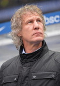 Gertjan Verbeek head coach of Nuerenberg looks on during the Bundesliga match between Hertha BSC and 1 FC Nuernberg at Olympiastadion on February 2...