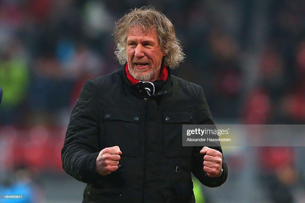 Gertjan Verbeek head coach of Nuernberg celebrates his team's 3rd goal the Bundesliga match between 1 FC Nuernberg and TSG 1899 Hoffenheim at Easy...