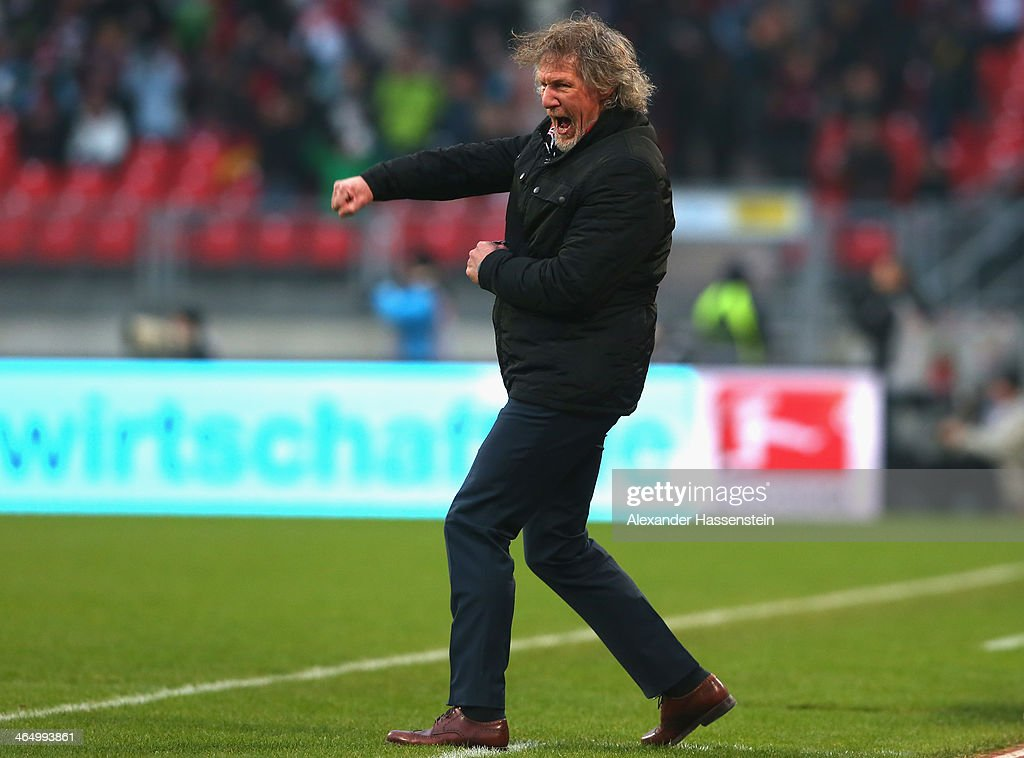 Gertjan Verbeek head coach of Nuernberg celebrates his team's 3rd goal the Bundesliga match between 1 FC Nuernberg and TSG 1899 Hoffenheim at Easy...