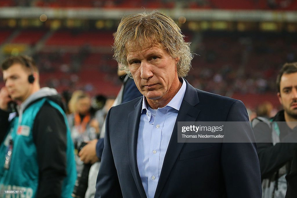 Gertjan Verbeek head coach of Nuernberg looks on prior to the Bundesliga match between VfB Stuttgart and 1FC Nuernberg at MercedesBenz Arena on...