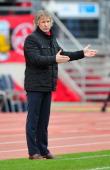 Gertjan Verbeek head coach of Nuernberg reacts during the Bundesliga match between 1 FC Nuernberg and FC Bayern Muenchen at Grundig Stadium on...