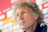 Gertjan Verbeek new headcoach of 1 FC Nuernberg speaks during a press conference on October 22 2013 in Nuremberg Germany