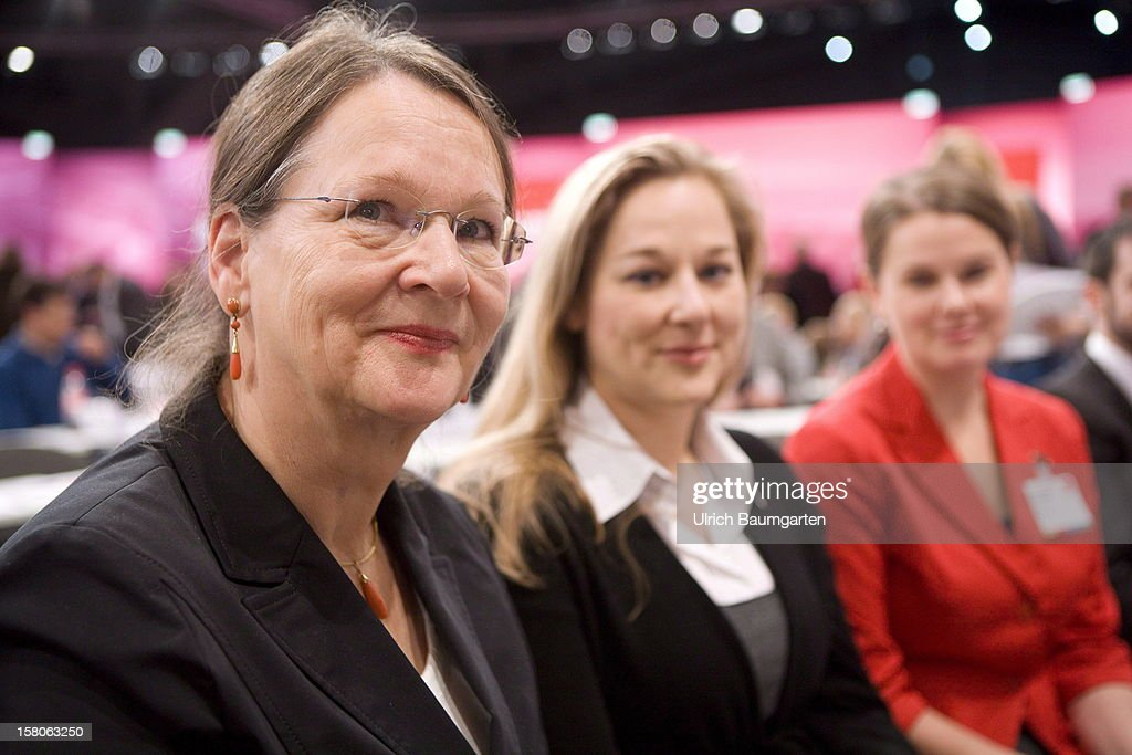 Gertrud Steinbrueck, wife of Peer Steinbrueck (SPD) the candidate from the SPD for the Chancellorship at the Federal Election 2013 in Germany, and the daughters Katharina (middle) and Anne, at the SPD federal party convention on December 9, 2012 in Hanover, Germany. The SPD is convening to set its policy course for the next year and to celebrate Steinbrueck, who will run for chancellor in elections set for 2013.
