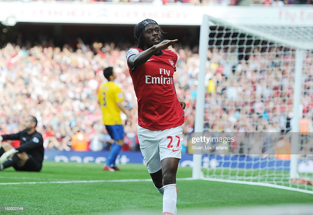 Gervinho celebrates scoring the 3rd Arsenal goal during the Barclays Premier League match between Arsenal and Southampton at Emirates Stadium on September 15, 2012 in London, England.