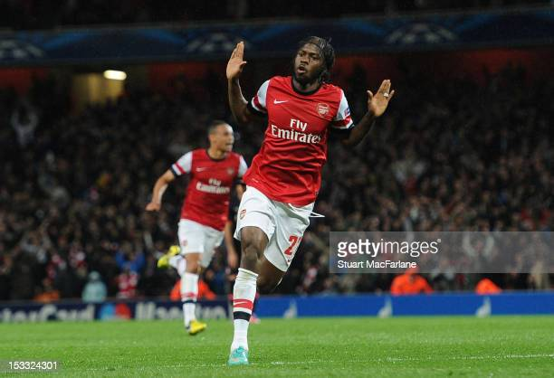 Gervinho celebrates scoring the first Arsenal goal during the UEFA Champions League Group B match between Arsenal FC and Olympiacos FC at Emirates...