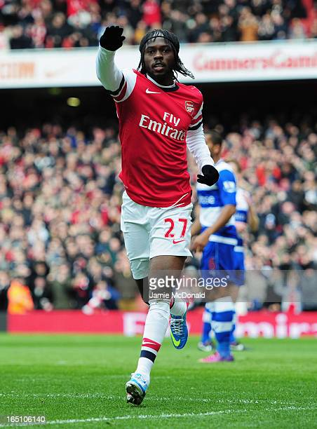 Gervinho of Arsenal celebrates as he scores their first goal during the Barclays Premier League match between Arsenal and Reading at Emirates Stadium...