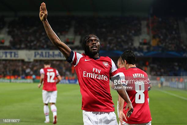 Gervinho of Arsenal celebrates scoring his teams second goal during the UEFA Champions League match between Montpellier Herault SC and Arsenal at...