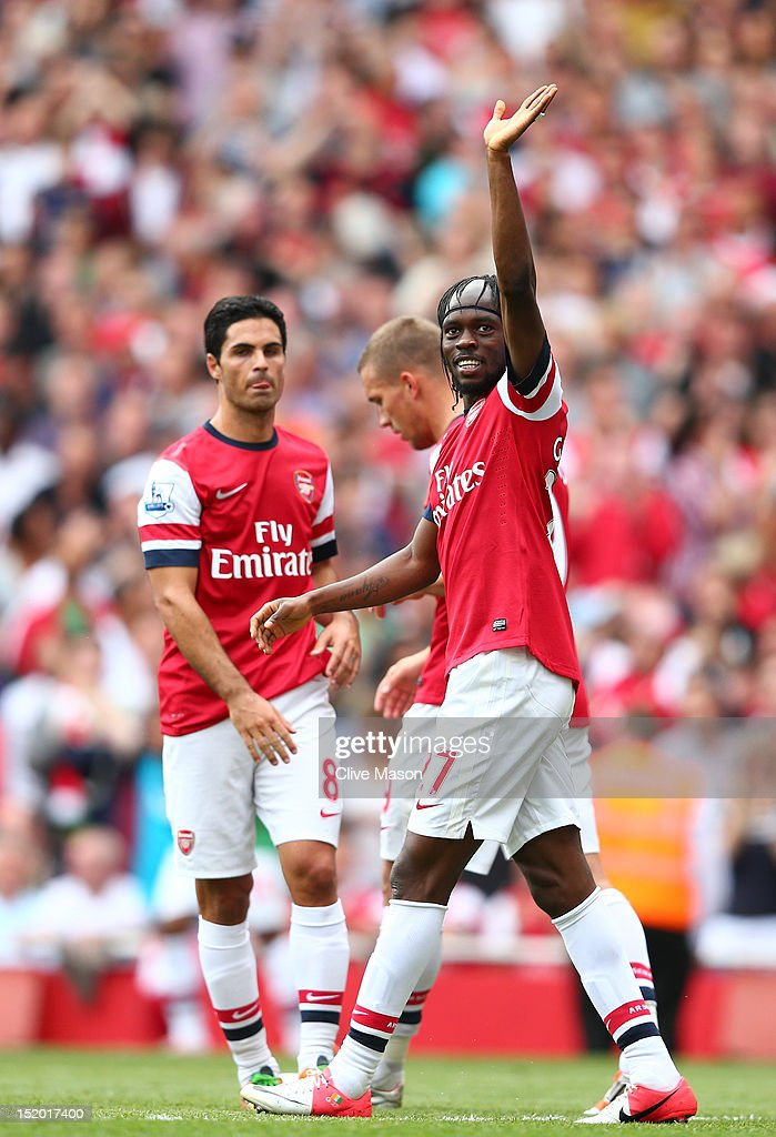 Gervinho of Arsenal celebrates scoring their fifth goal during the Barclays Premier League match between Arsenal and Southampton at Emirates Stadium on September 15, 2012 in London, England.