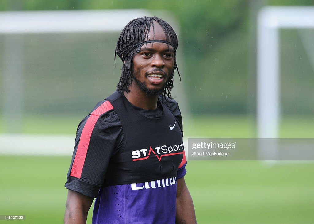<a gi-track='captionPersonalityLinkClicked' href=/galleries/search?phrase=Gervinho&family=editorial&specificpeople=4500752 ng-click='$event.stopPropagation()'>Gervinho</a> of Arsenal during a training session at London Colney on July 10, 2012 in St Albans, England.