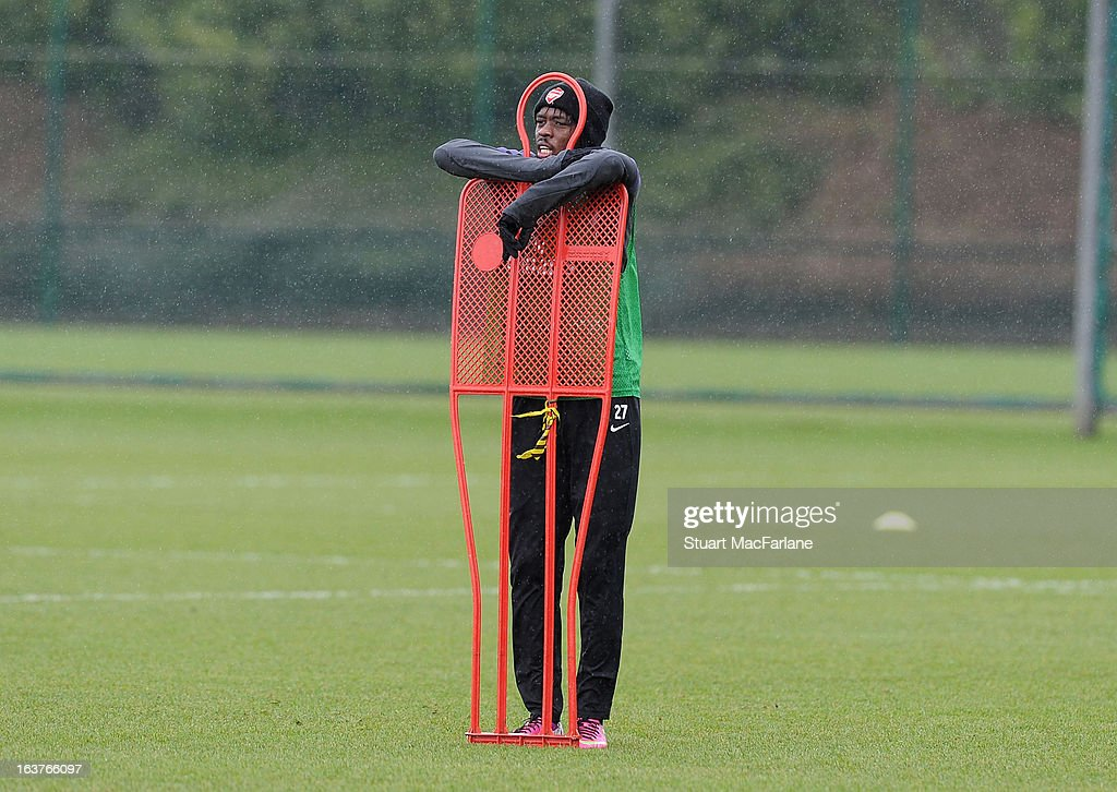 <a gi-track='captionPersonalityLinkClicked' href=/galleries/search?phrase=Gervinho&family=editorial&specificpeople=4500752 ng-click='$event.stopPropagation()'>Gervinho</a> of Arsenal during a training session at London Colney on March 15, 2013 in St Albans, England.