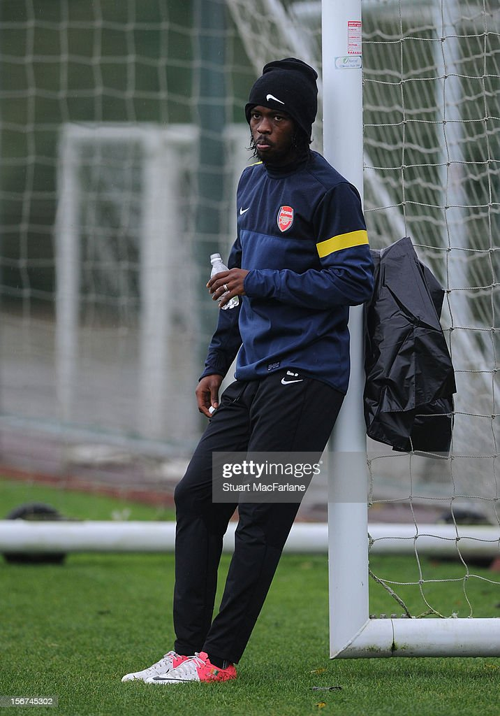 Gervinho of Arsenal during a training session at London Colney on November 20, 2012 in St Albans, England.