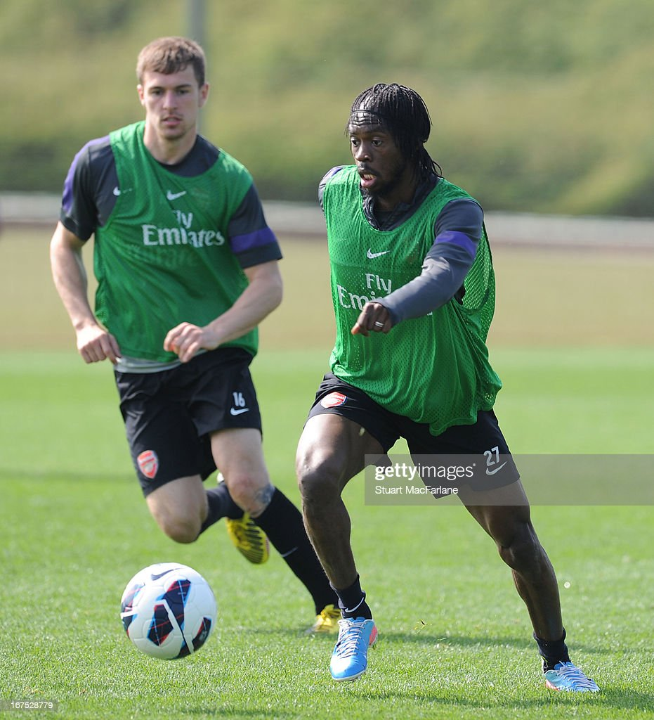 Gervinho of Arsenal during a training session at London Colney on April 26, 2013 in St Albans, England.