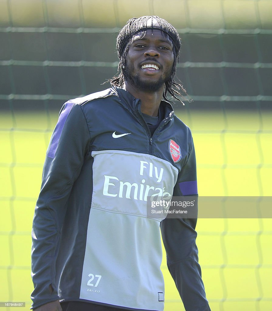 Gervinho of Arsenal during a training session at London Colney on May 03, 2013 in St Albans, England.